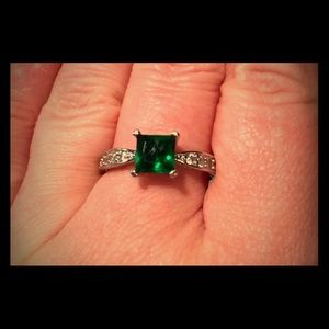 Emerald and Cubic Zirconia Ring